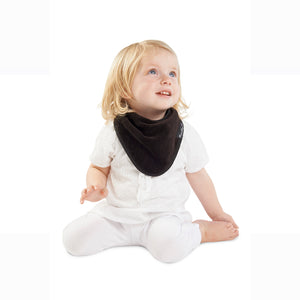 Baby wearing the Black [Mum2Mum] Teething Bandana - Not Too Big