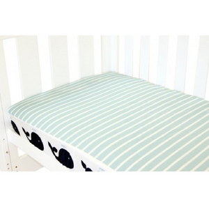 Babyhood cot bed fitted sheet with whate and stripe prints