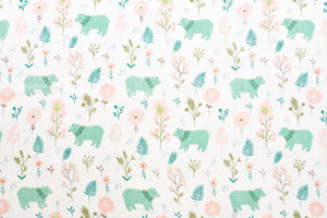 [Mimosa] Multi-Purpose Bamboo Muslin Swaddle - Not Too Big (Floral and Bear)