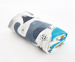 [Mimosa] Multi-Purpose Bamboo Muslin Swaddle - Not Too Big (Dino 2)
