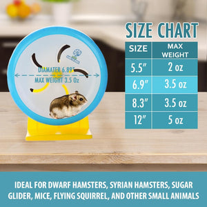 "Hamster Wheel 7"" Pet Noiseless Spinners Comfort Exercise Wheel Large and Easy Attach to Wire Cage for Small Pet <3.5 Oz Sugar Glider Hamster Mice Hedgehog Gerbil - Premium PP Material"