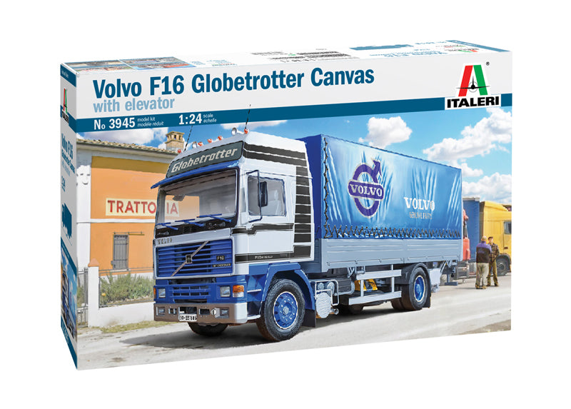 VOLVO F16 Globetrotter Canvas Truck with elevator 1:24