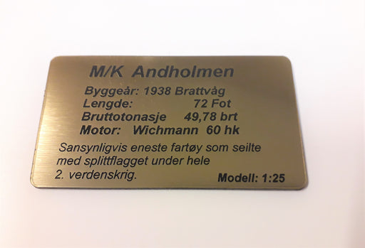 Dataplate for M/K Andholmen. (90x50x1,6mm)
