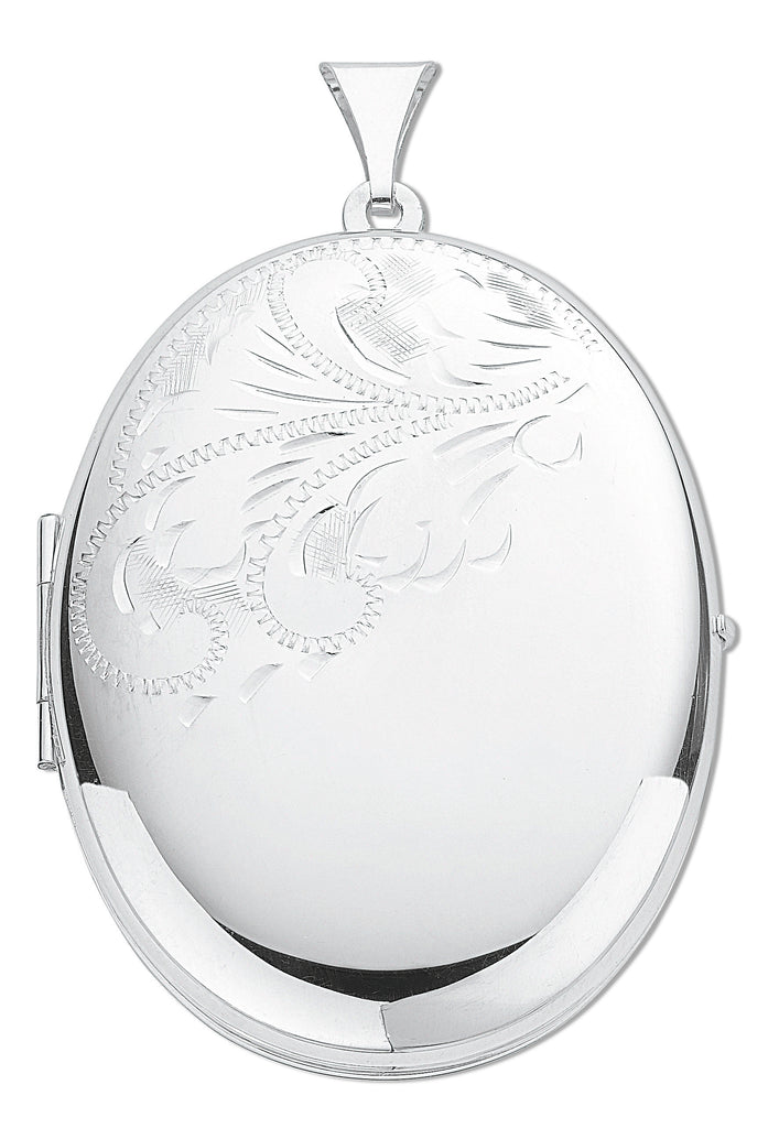 6c92c8d30 925 Sterling Silver Large Engraved Oval Shaped Locket with 18