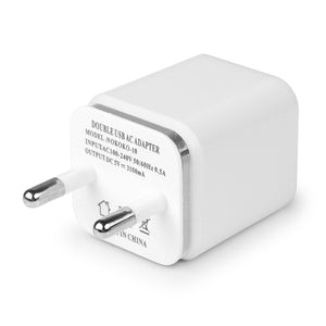 USB Wall Charger Travel Dual Port Adapter , US or EU Plug 1A 2.1A