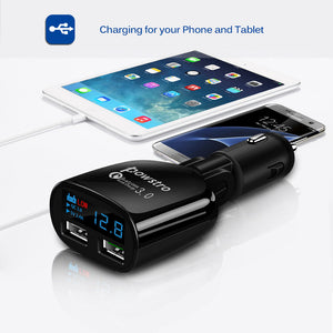 Qualcomm Quick Charge 3.0 Car Charger, Digital Display Low Voltage Warning