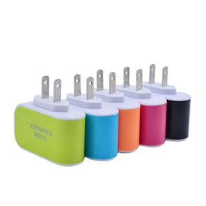 EU or US 3x USB Wall Charger With LED Light