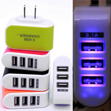 Load image into Gallery viewer, EU or US 3x USB Wall Charger With LED Light