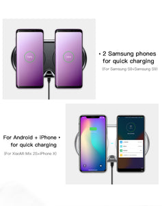 Dual Wireless Quick Charger For All Qi-certified iOS and Android devices