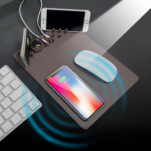 Multi-function Qi Wireless Charger and Mouse Pad combo, with Organizer
