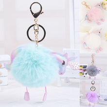 Load image into Gallery viewer, Unicorn PomPom  Pendant Keychain
