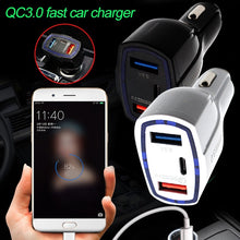 Load image into Gallery viewer, 2x USB, 1x Type-C, QC3.0 Car Charge