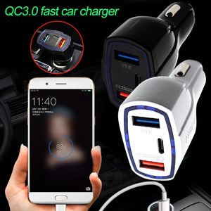 2x USB, 1x Type-C, QC3.0 Car Charge