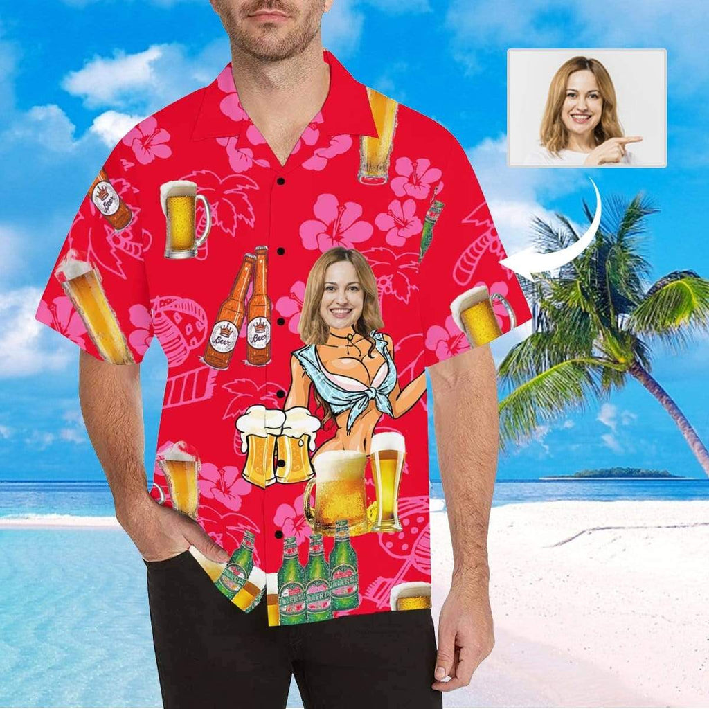 MybestBoxer Apparel & Accessories > Clothing > Shirts & Tops > Hawaiian Shirt Custom Face Beer Men's All Over Print Hawaiian Shirt