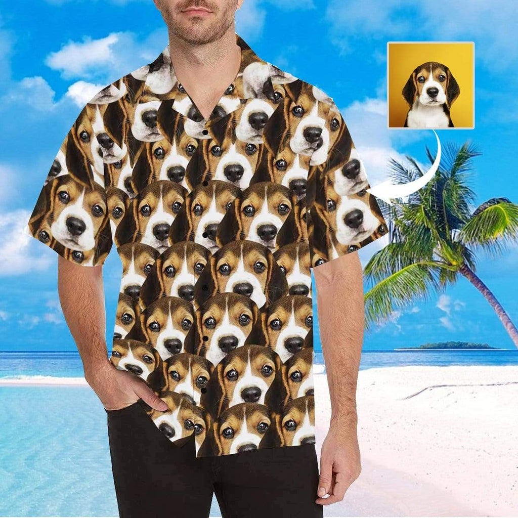 MybestBoxer Apparel & Accessories > Clothing > Shirts & Tops > Hawaiian Shirt Custom Face Brown Black Puppy Men's All Over Print Hawaiian Shirt