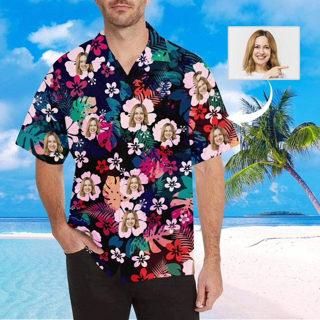 MybestBoxer Apparel & Accessories > Clothing > Shirts & Tops > Hawaiian Shirt Custom Face Colorful Flowers Pink&Red Men's All Over Print Hawaiian Shirt