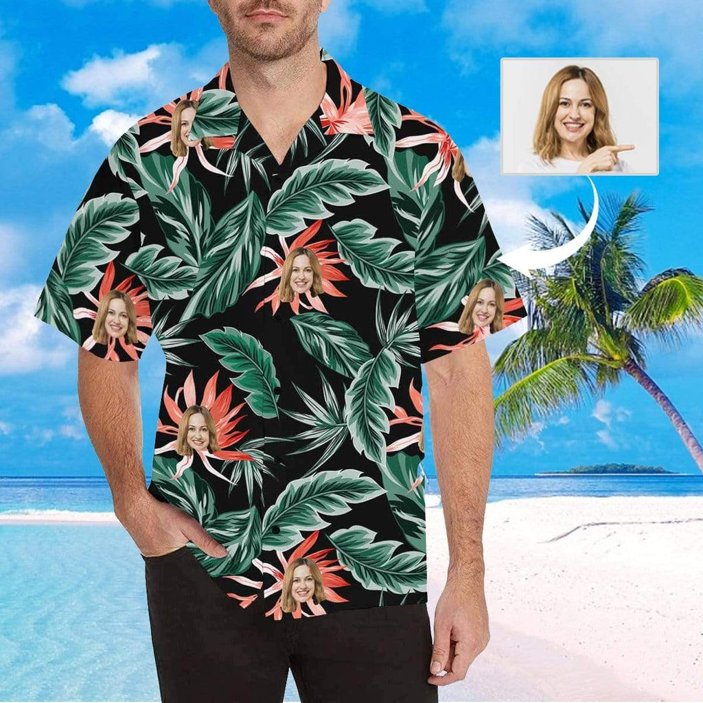 MybestBoxer Apparel & Accessories > Clothing > Shirts & Tops > Hawaiian Shirt Custom Face Dark Green Leaves Red Flower Men's All Over Print Hawaiian Shirt