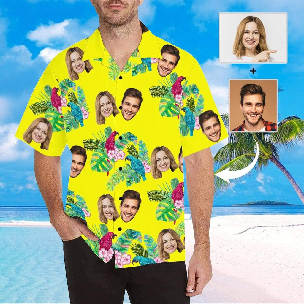 MybestBoxer Apparel & Accessories > Clothing > Shirts & Tops > Hawaiian Shirt Custom Face Flower Birds Men's All Over Print Hawaiian Shirt