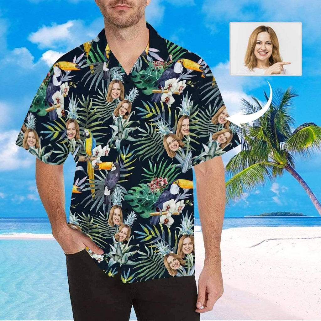 MybestBoxer Apparel & Accessories > Clothing > Shirts & Tops > Hawaiian Shirt Custom Face Flower Parrot Men's All Over Print Hawaiian Shirt