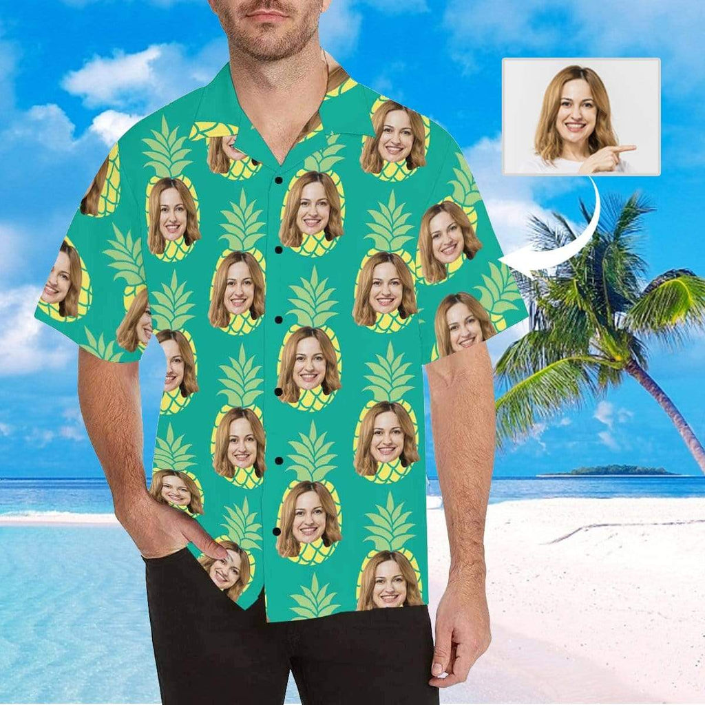 MybestBoxer Apparel & Accessories > Clothing > Shirts & Tops > Hawaiian Shirt Custom Face Green Pineapple Girlfriend Men's All Over Print Hawaiian Shirt
