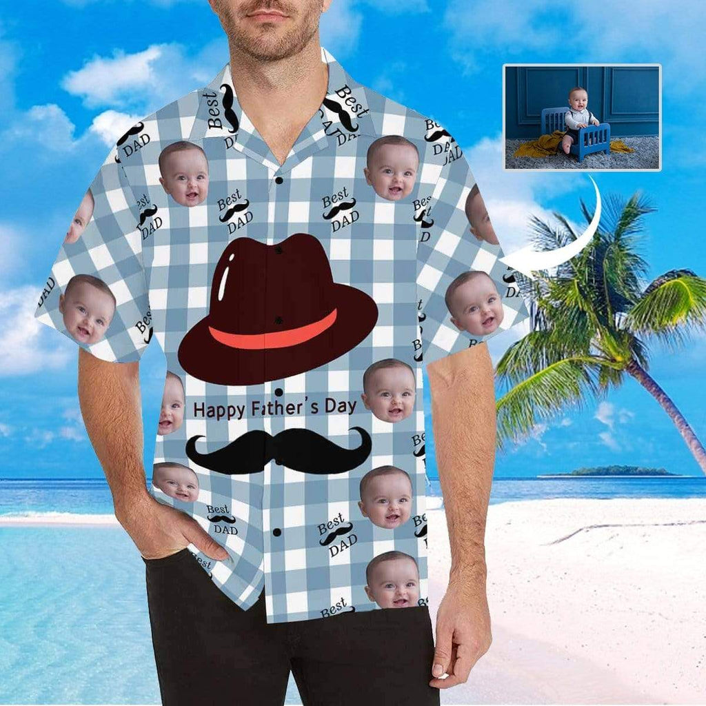 MybestBoxer Apparel & Accessories > Clothing > Shirts & Tops > Hawaiian Shirt Custom Face Happy Father's Day Beard Men's All Over Print Hawaiian Shirt