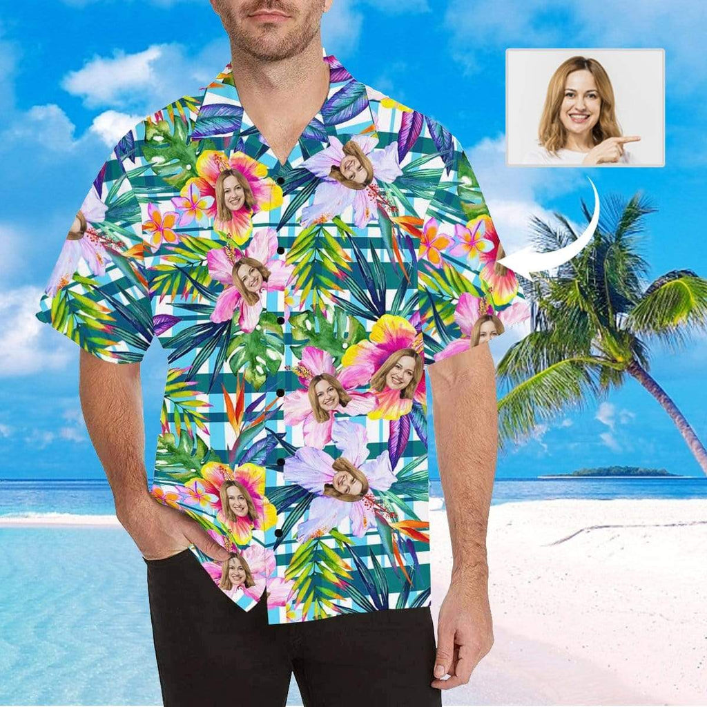 MybestBoxer Apparel & Accessories > Clothing > Shirts & Tops > Hawaiian Shirt Custom Face Plaid Flower Men's All Over Print Hawaiian Shirt