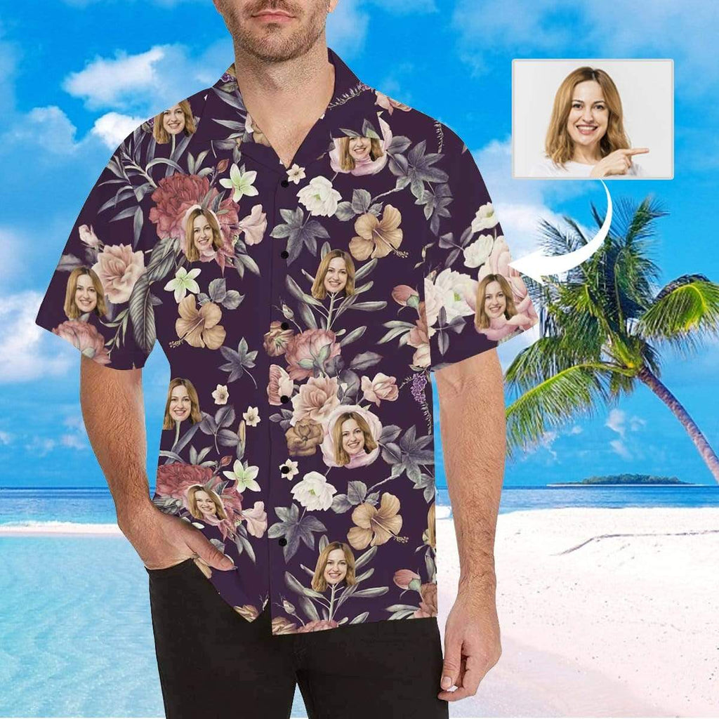 MybestBoxer Apparel & Accessories > Clothing > Shirts & Tops > Hawaiian Shirt Custom Face Purple Background White Flower Men's All Over Print Hawaiian Shirt