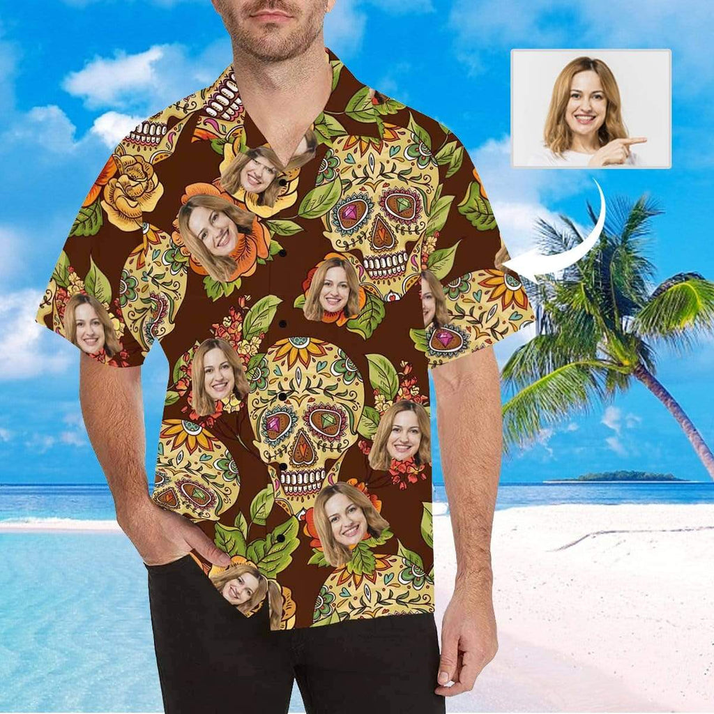 MybestBoxer Apparel & Accessories > Clothing > Shirts & Tops > Hawaiian Shirt Custom Face Skull Series Men's All Over Print Hawaiian Shirt