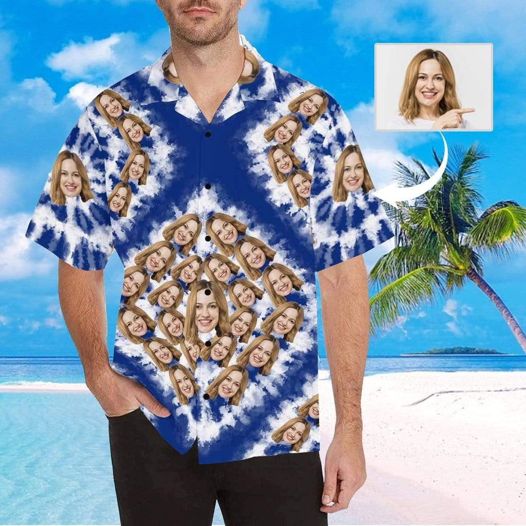 MybestBoxer Apparel & Accessories > Clothing > Shirts & Tops > Hawaiian Shirt Custom Face Square Blue Men's All Over Print Hawaiian Shirt