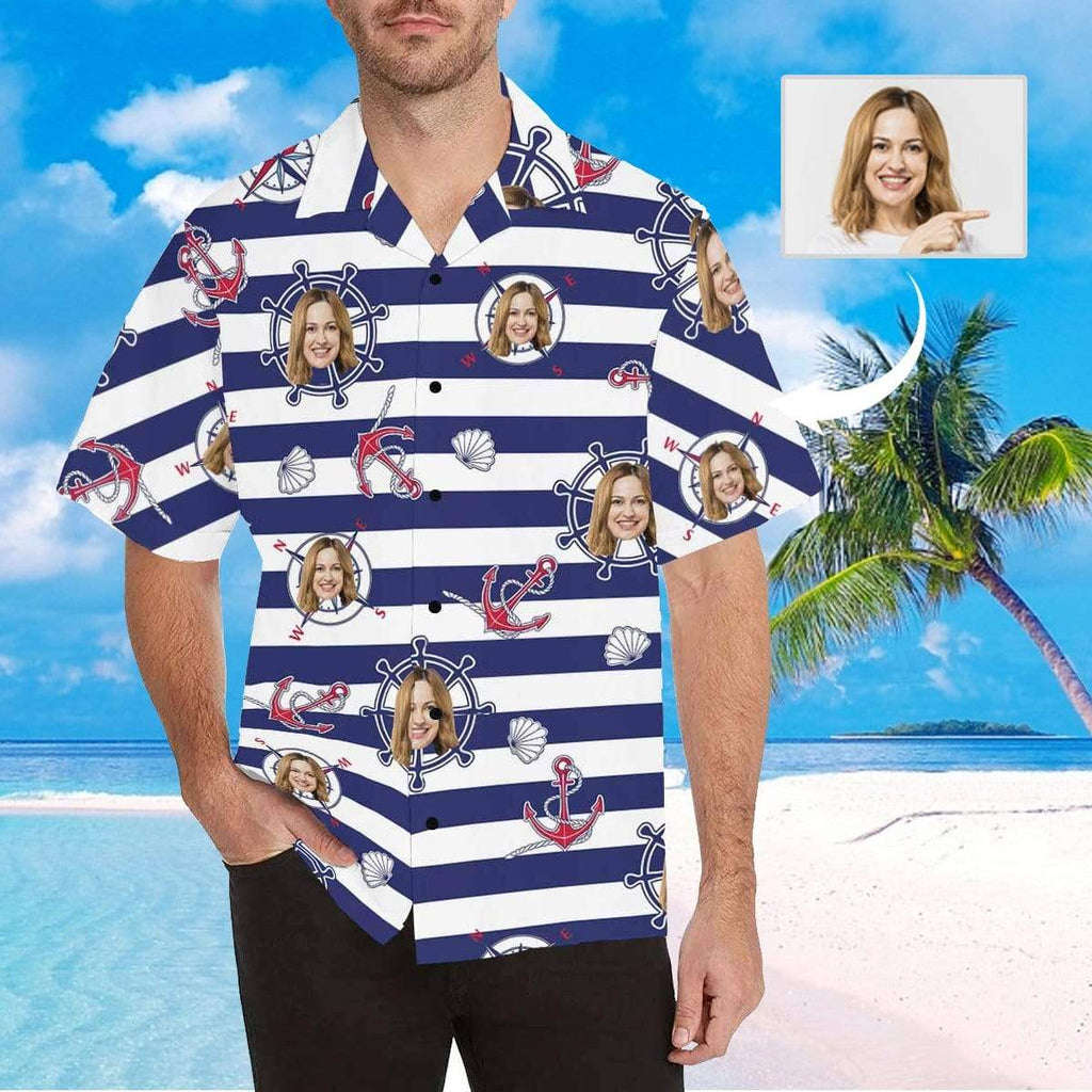 MybestBoxer Apparel & Accessories > Clothing > Shirts & Tops > Hawaiian Shirt Custom Face Stripe Wheel Men's All Over Print Hawaiian Shirt