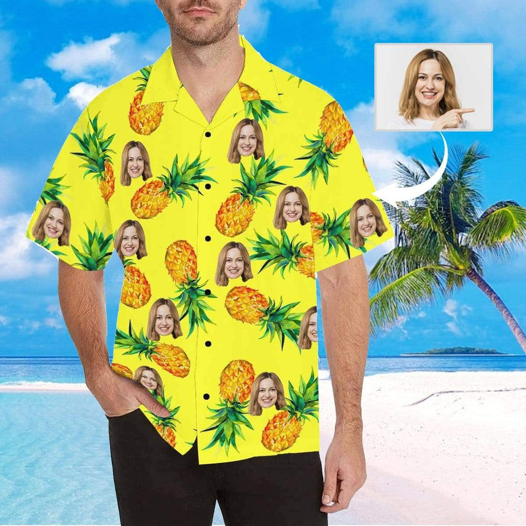MybestBoxer Apparel & Accessories > Clothing > Shirts & Tops > Hawaiian Shirt Custom Face Yellow Pineapple Green Leaves Men's All Over Print Hawaiian Shirt