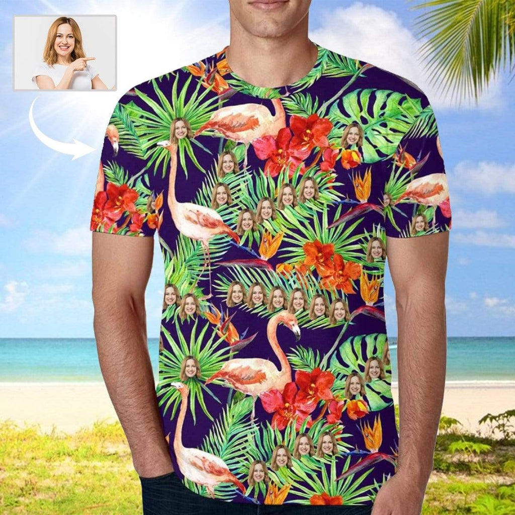 MybestBoxer Apparel & Accessories > Clothing > Shirts & Tops > T-shirt Custom Face Flamingo Leaves Men's T-shirt
