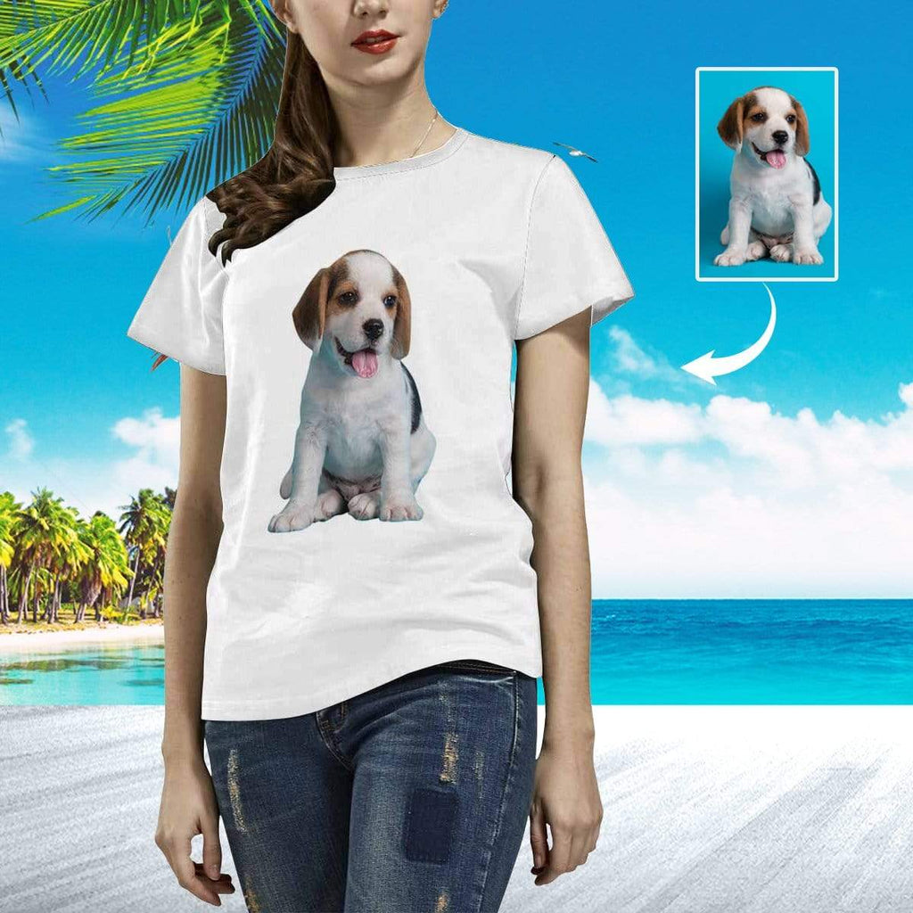 MybestBoxer Apparel & Accessories > Clothing > Shirts & Tops > T-shirt Custom Face Full Body Puppy Women's All Over Print T-shirt