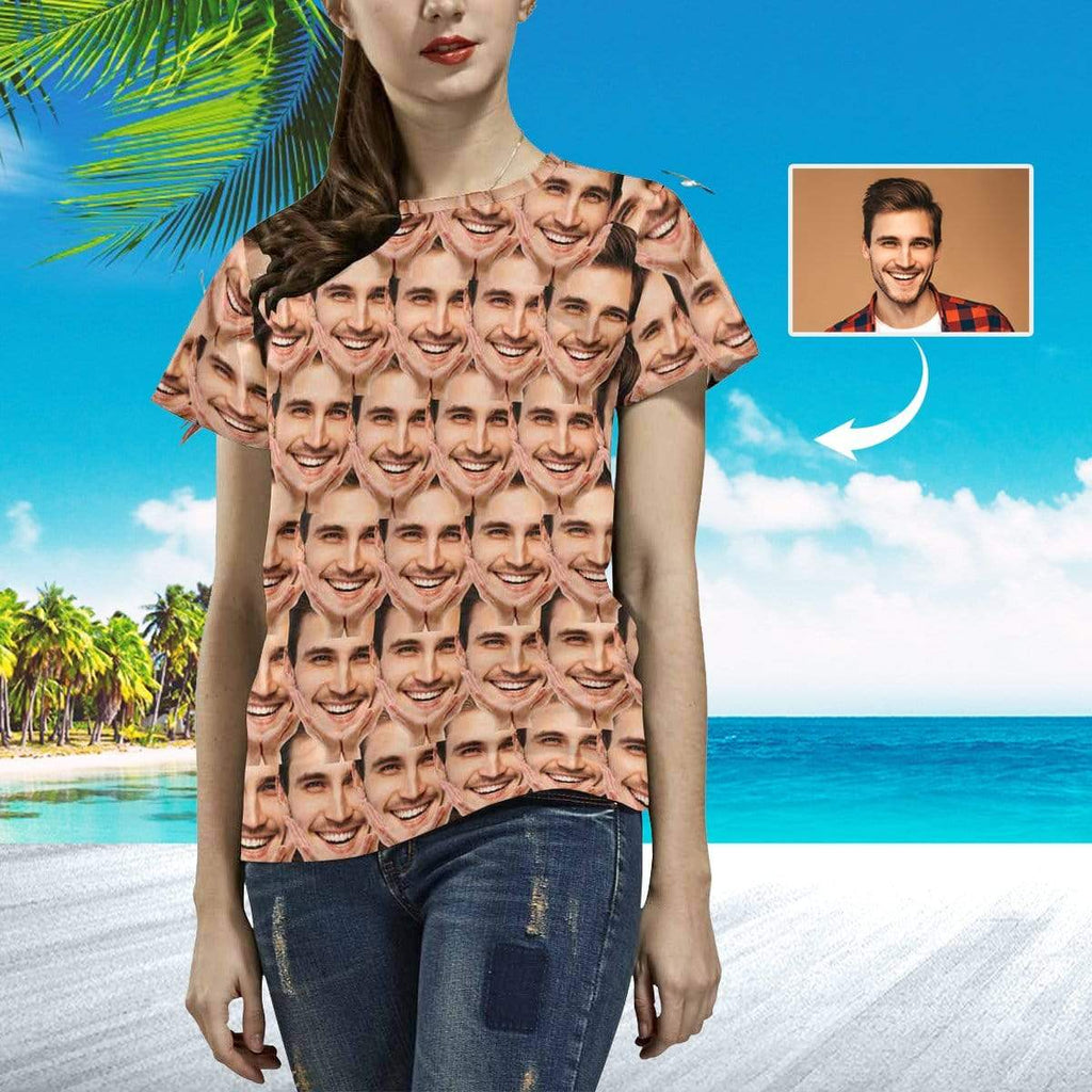 MybestBoxer Apparel & Accessories > Clothing > Shirts & Tops > T-shirt Custom Face Gesture Seamless Boyfriend Women's All Over Print T-shirt