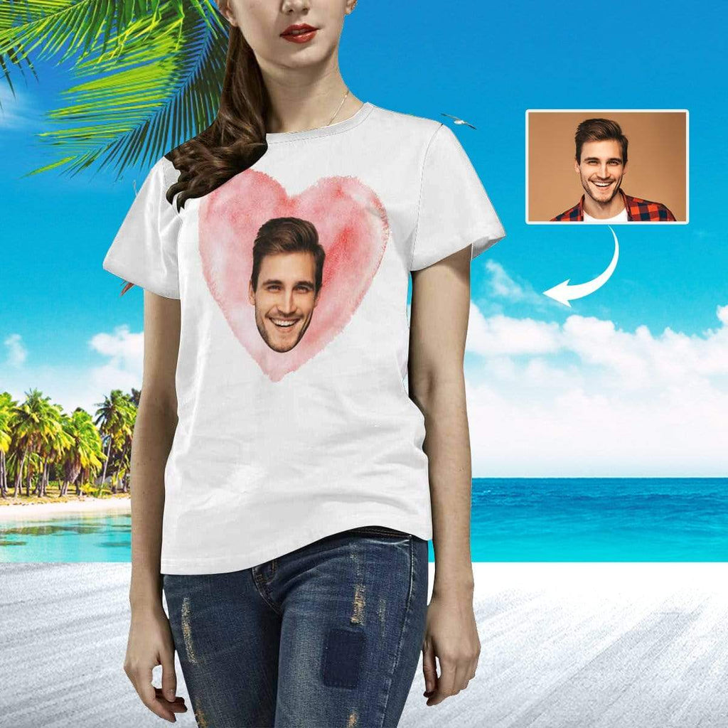 MybestBoxer Apparel & Accessories > Clothing > Shirts & Tops > T-shirt Custom Face Love Women's All Over Print T-shirt