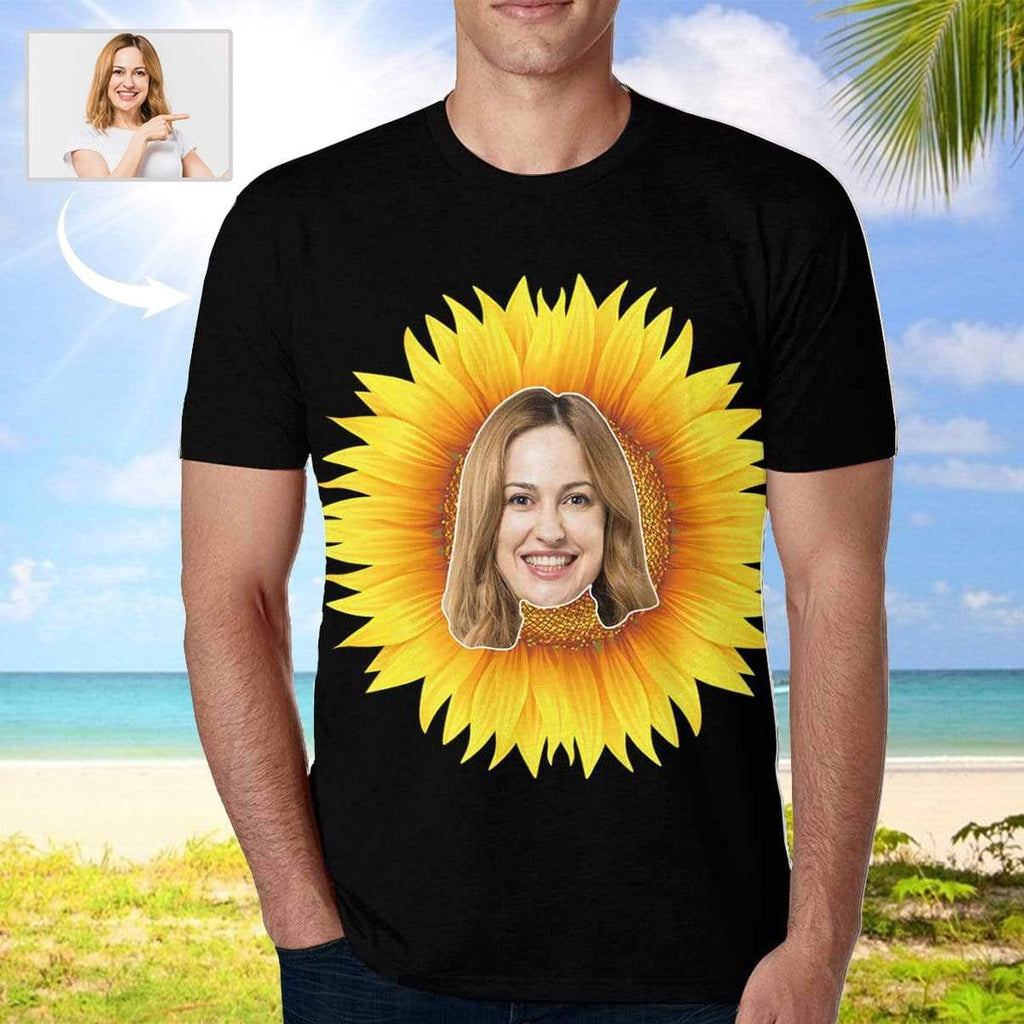 MybestBoxer Apparel & Accessories > Clothing > Shirts & Tops > T-shirt Custom Face Sunflower Men's T-shirt