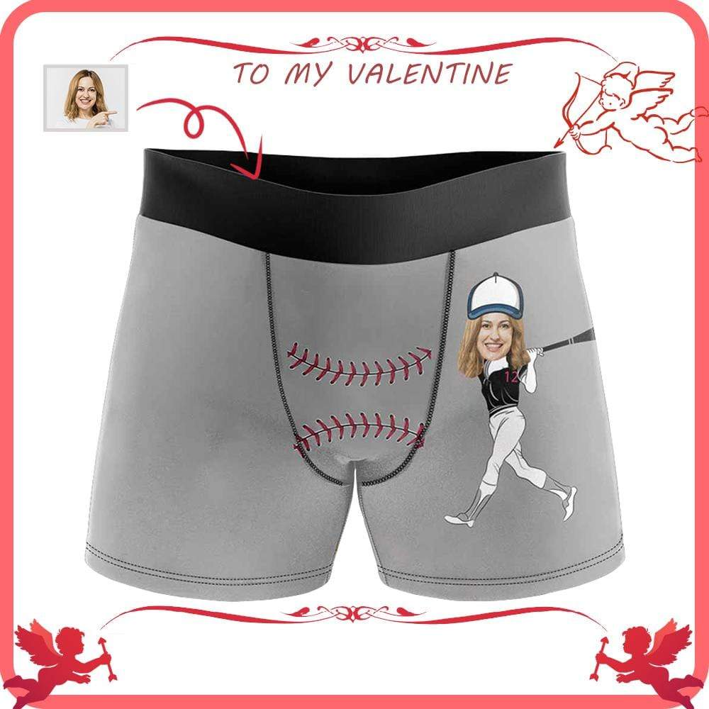 Mybestboxer Apparel & Accessories > Clothing > Underwear & Socks > Underwear Custom Face Baseball Player Men's All-Over Print Boxer Briefs