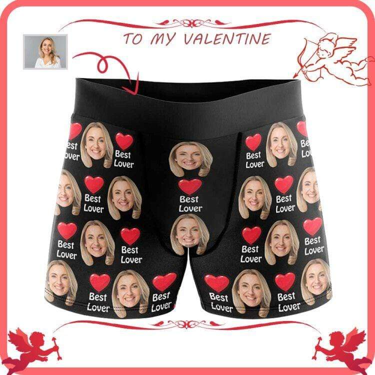 Mybestboxer Apparel & Accessories > Clothing > Underwear & Socks > Underwear Custom Face Best Lover Men's All-Over Print Boxer Briefs