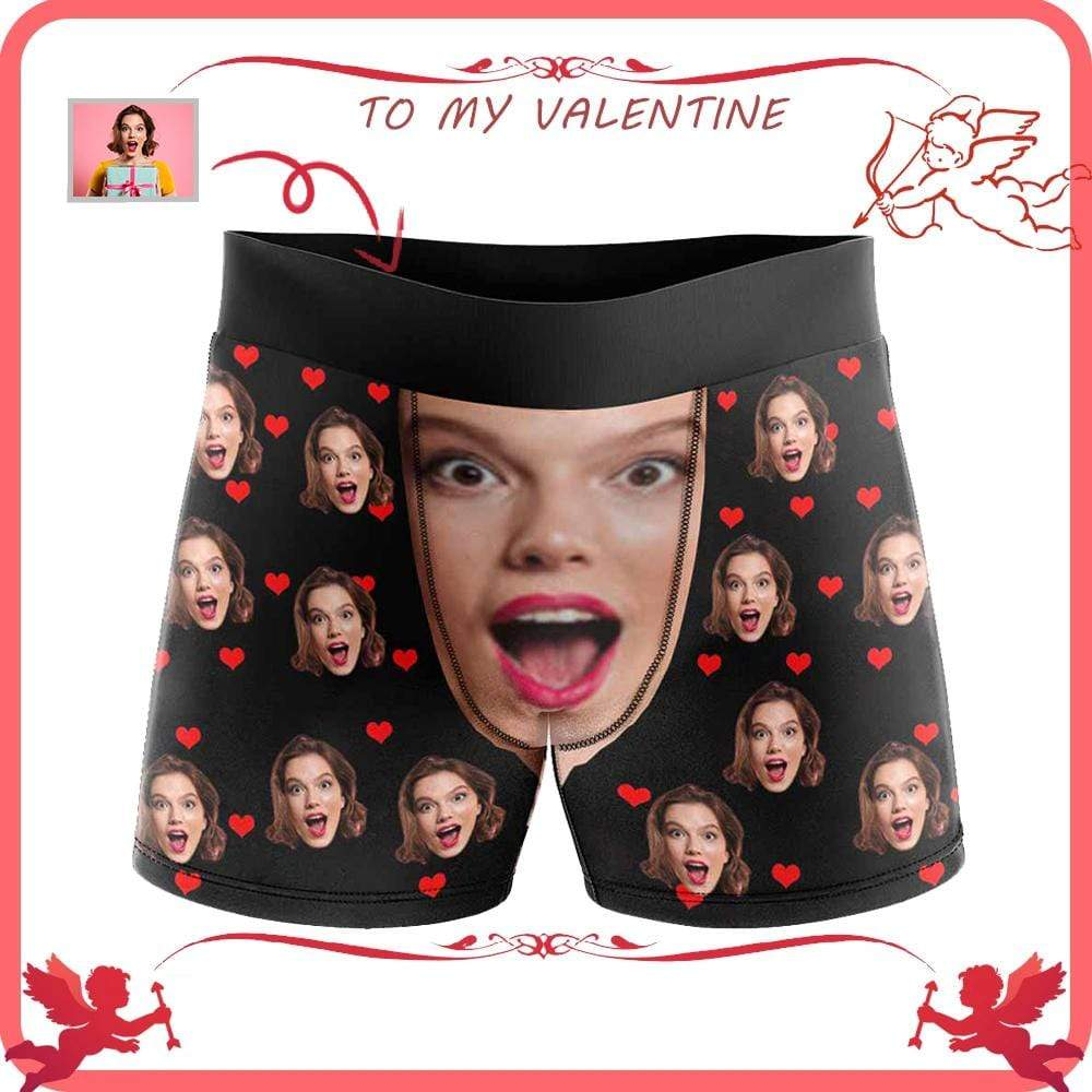 MybestBoxer Apparel & Accessories > Clothing > Underwear & Socks > Underwear Custom Face Love You Heart Men's All-Over Print Boxer Briefs