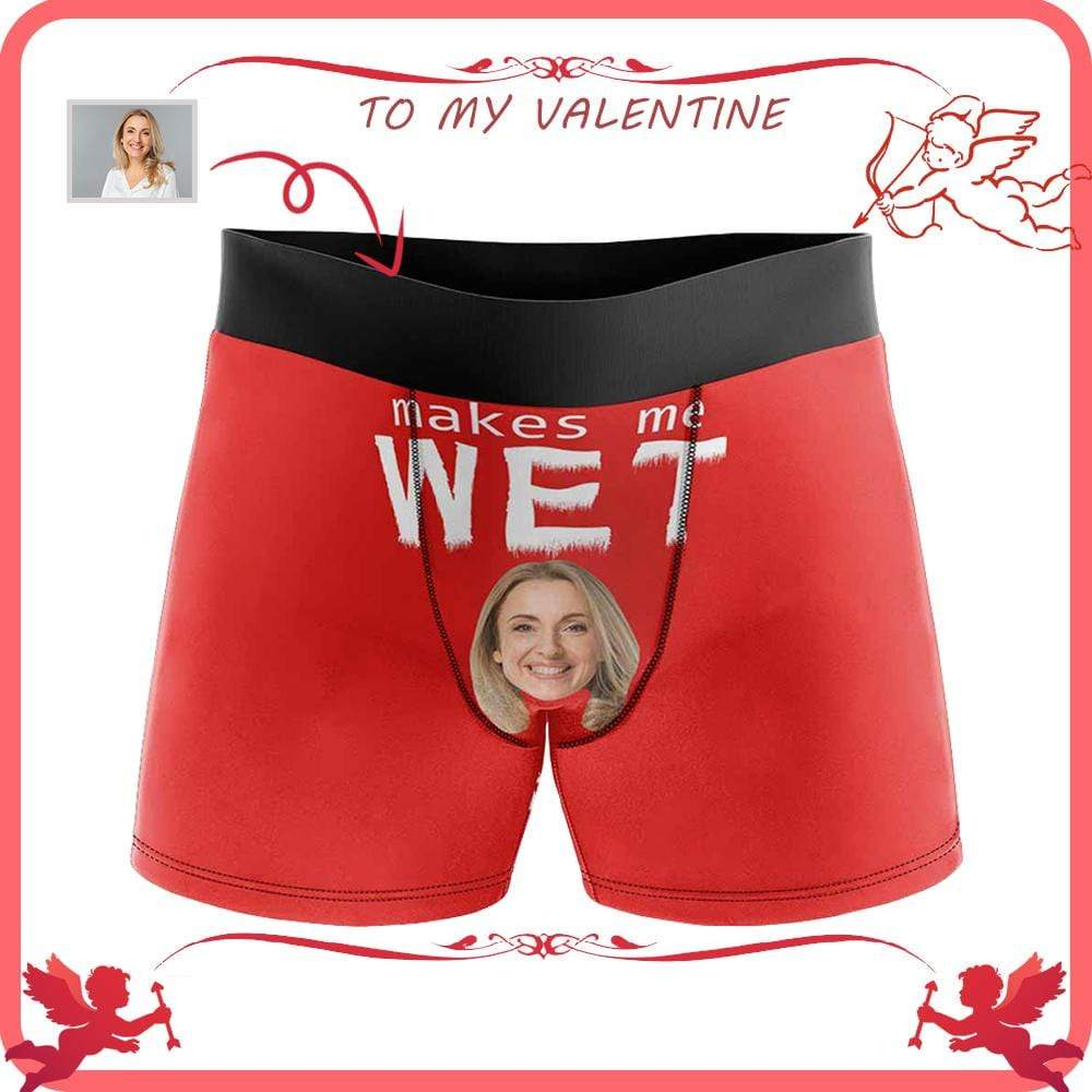 Mybestboxer Apparel & Accessories > Clothing > Underwear & Socks > Underwear Custom Face Makes Me Wet Red Men's All-Over Print Boxer Briefs