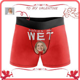 Custom Face Makes Me Wet Red Men's All-Over Print Boxer Briefs