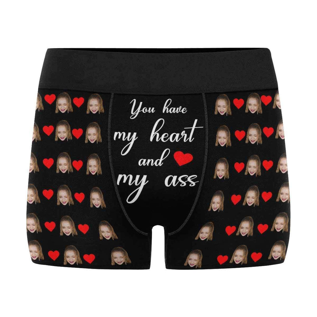 Mybestboxer Apparel & Accessories > Clothing > Underwear & Socks > Underwear Custom Face Photo My Heart Ass Men's Boxer Briefs