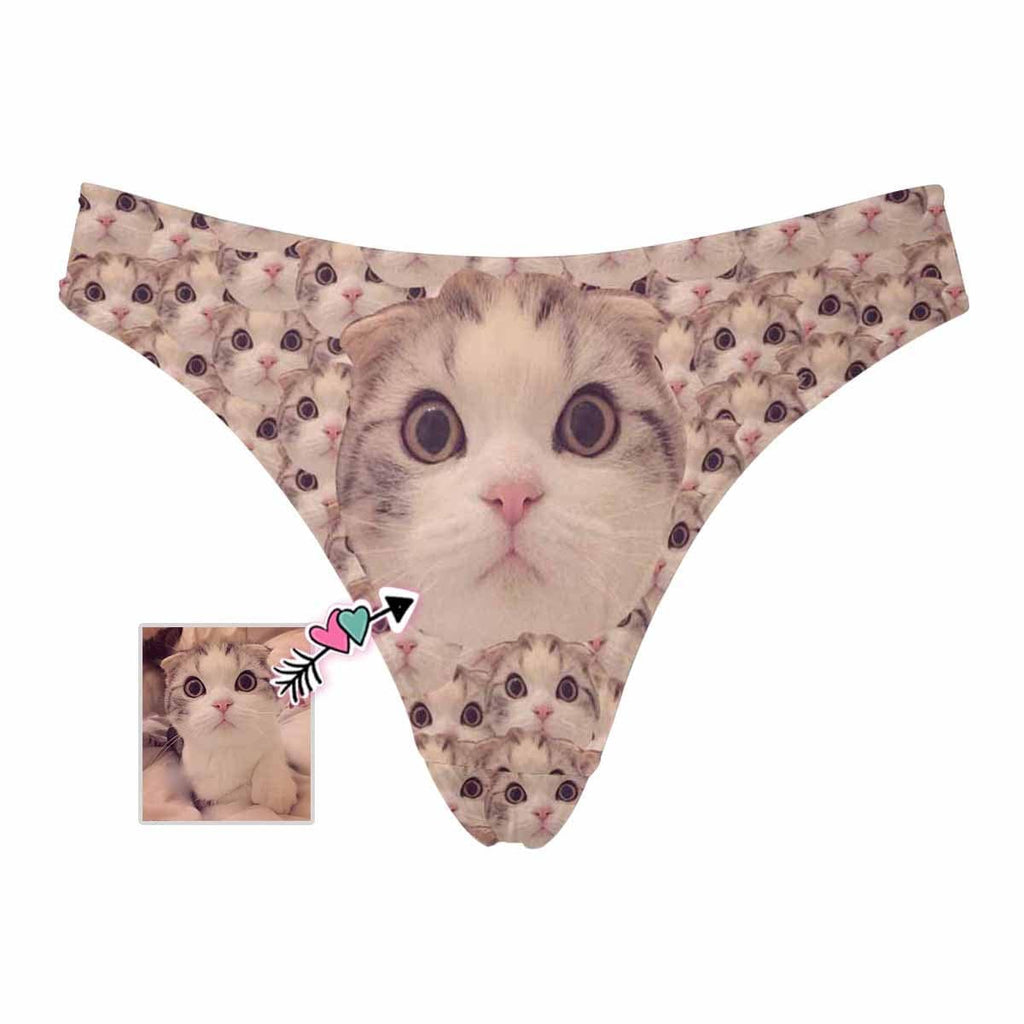 Mybestboxer Apparel & Accessories > Clothing > Underwear & Socks > Underwear Custom Pet Face Smash Women's Classic Thong