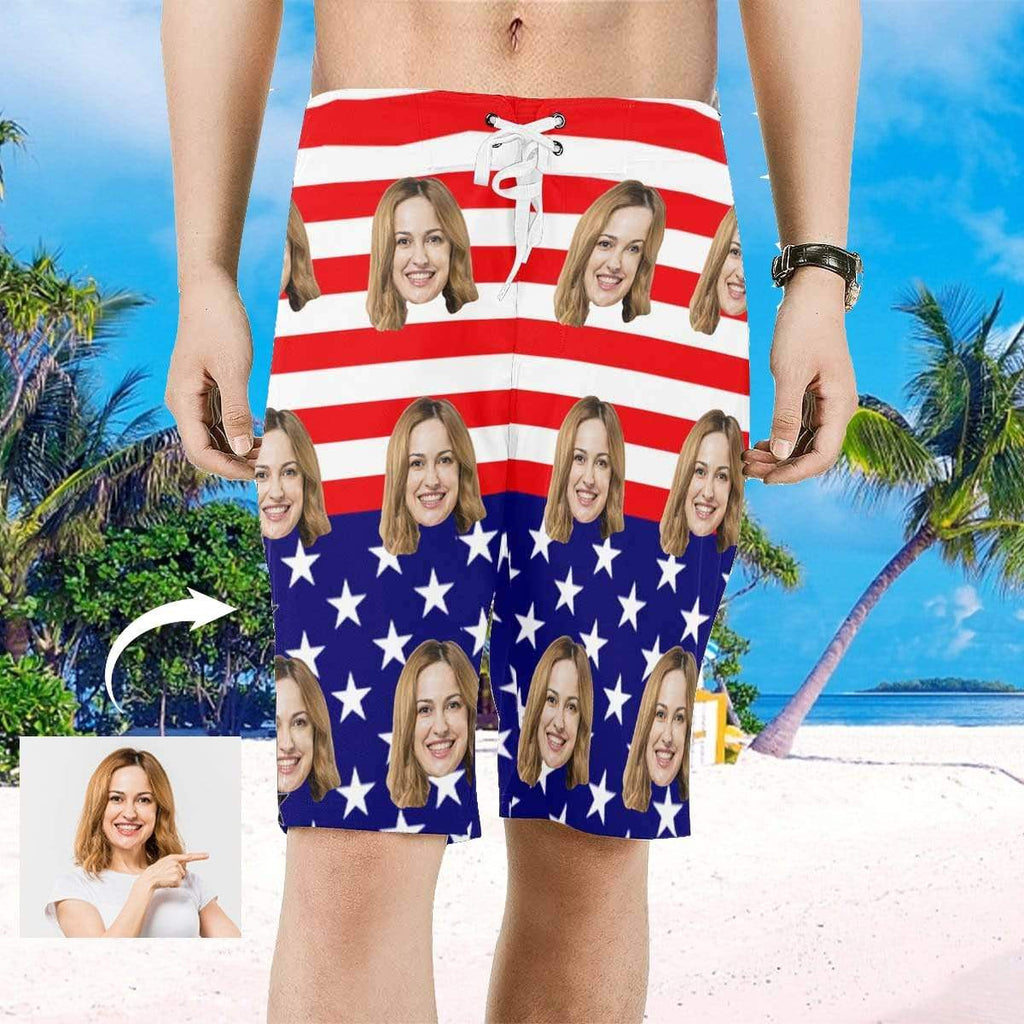 MybestBoxer Custom Face American Flag Men's All Over Print Beach Shorts