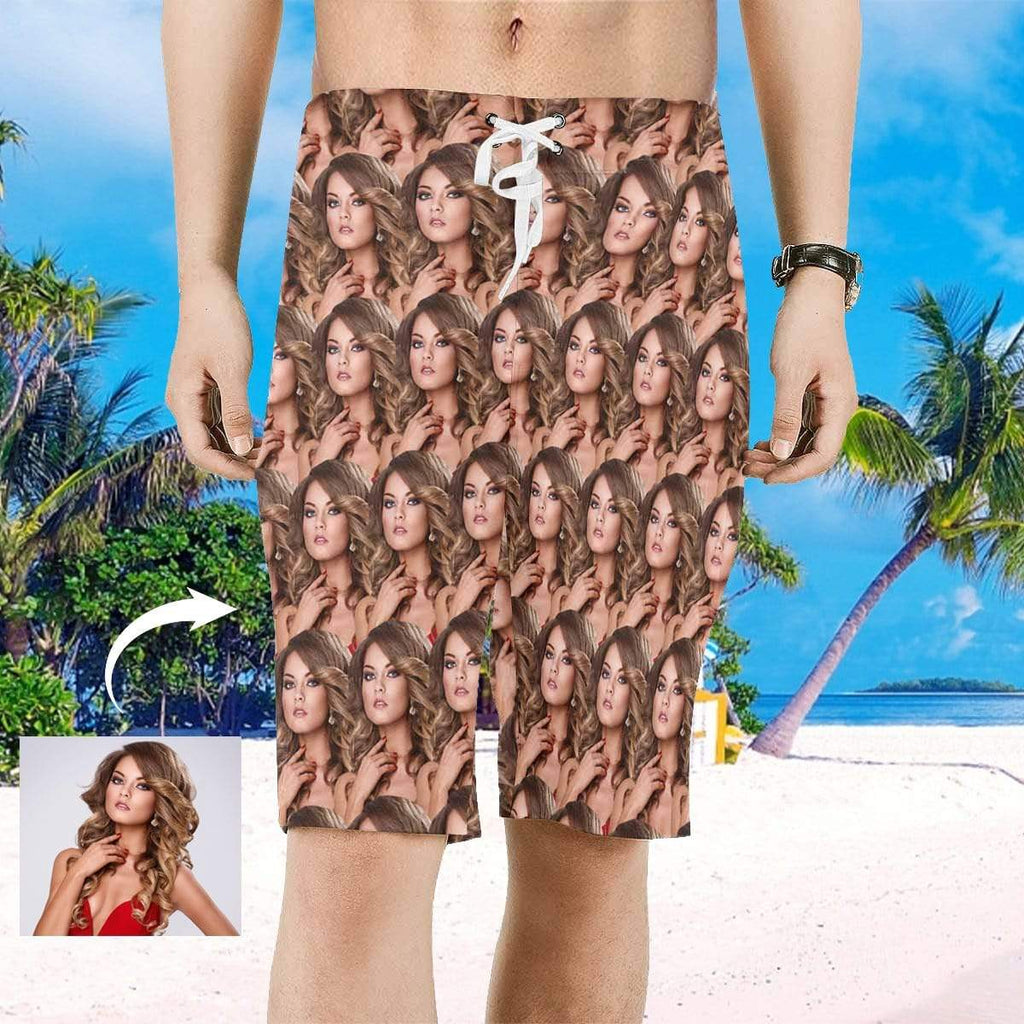 MybestBoxer Custom Face Men's All Over Print Beach Shorts
