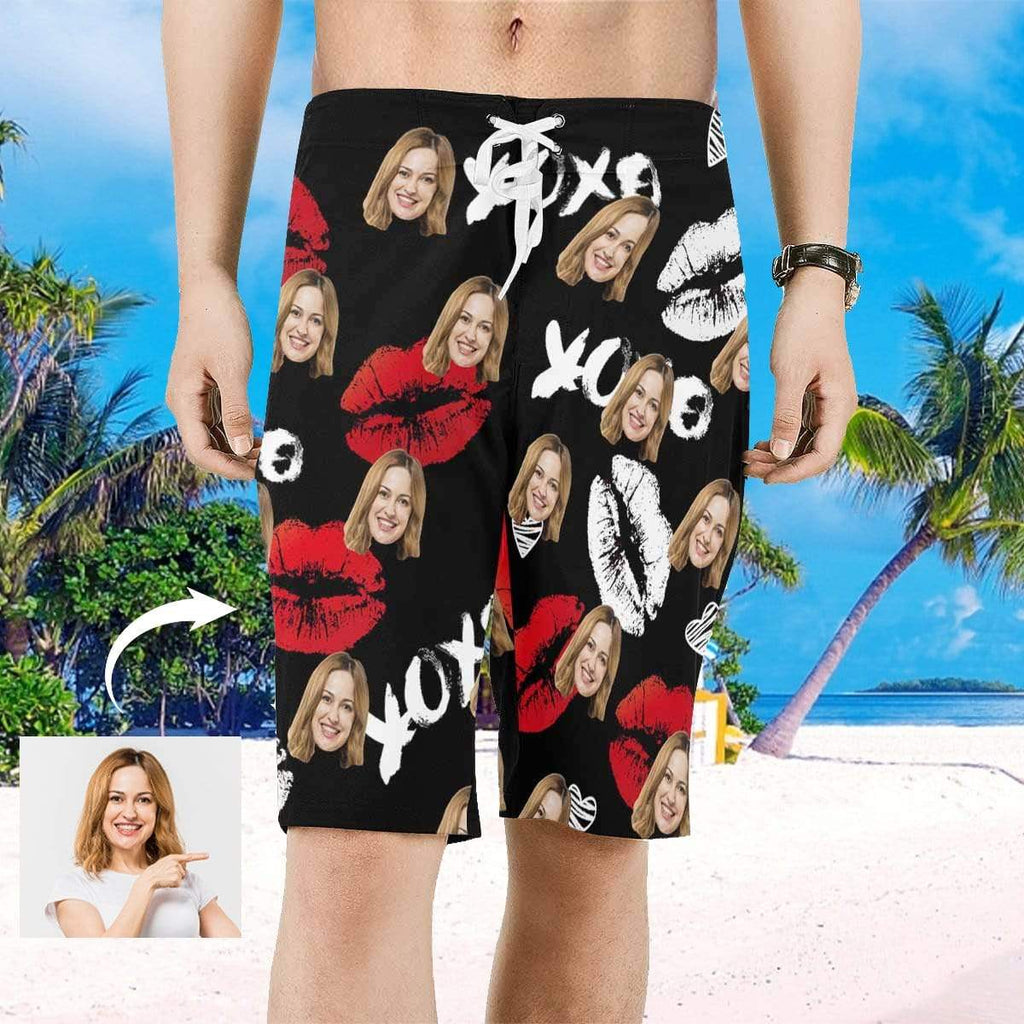 MybestBoxer Custom Face Red Lip Men's All Over Print Beach Shorts