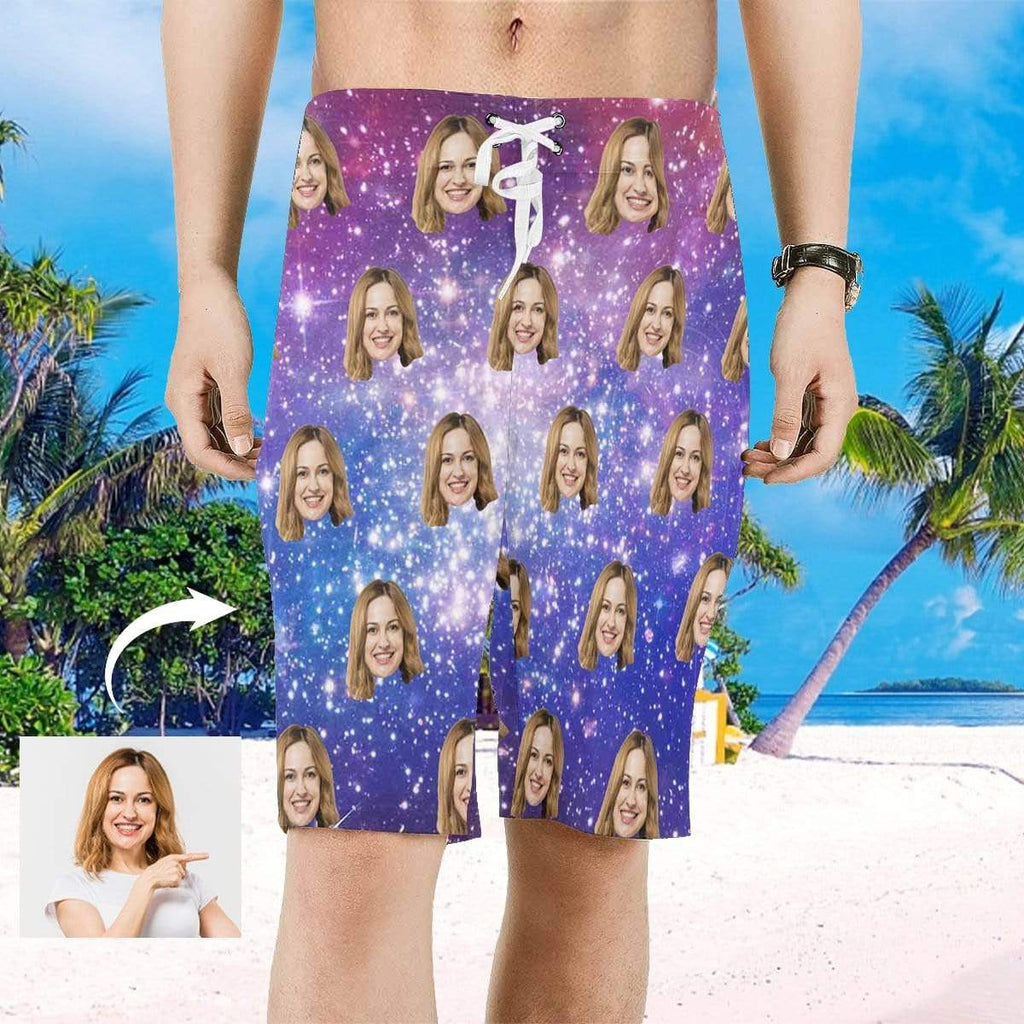 MybestBoxer Beach Shorts Custom Face Starry Sky Men's All Over Print Beach Shorts