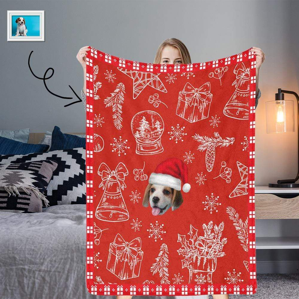 MybestBoxer blanket Custom Face Christmas Red Ultra-Soft Micro Fleece Blanket