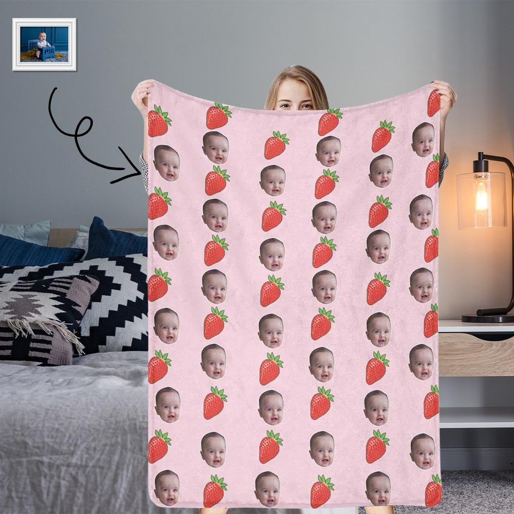MybestBoxer Custom Face Strawberry Ultra-Soft Micro Fleece Blanket