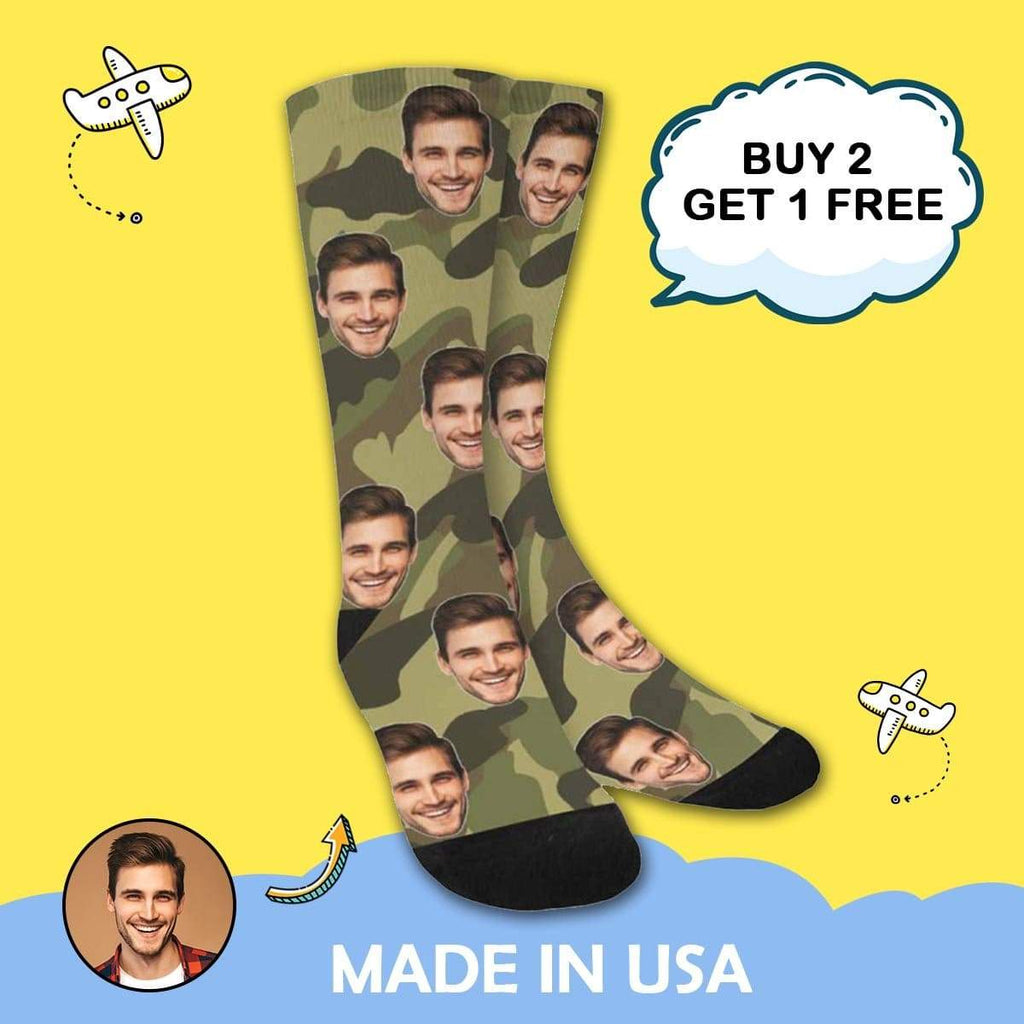 MybestBoxer Custom Face Military Camouflage Sublimated Crew Socks